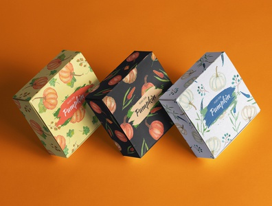 Watercolour pumpkin packaging design. Hand drawn pattern.