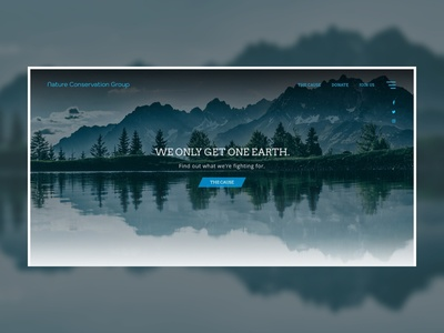 Nature Conservation Group Landing Page Concept