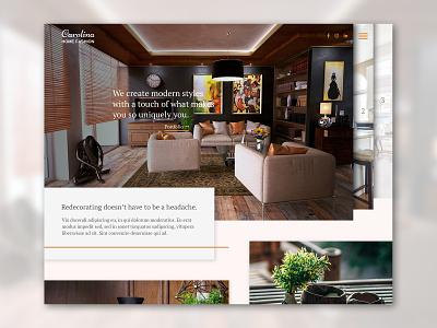 Interior design site concept layout geometric website web design web ux ui landing page design