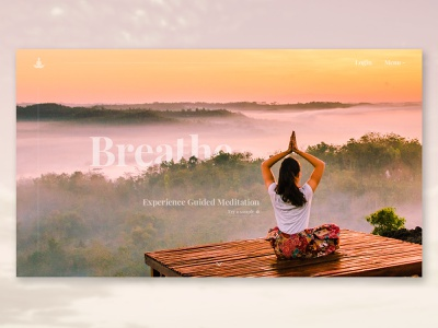 BREATHE guided meditation landing page concept typography mondays relaxing meditation website layout imagery branding web design web ux ui landing page design