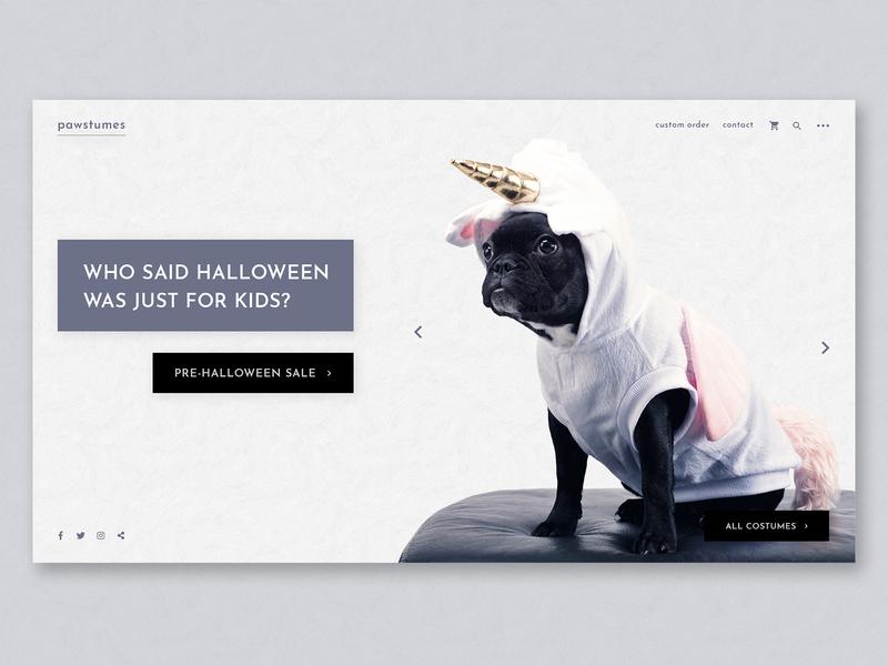 Puppy Costumes Landing Page halloween design halloween animal pet costume party costumes costume dog dogs website layout imagery branding web design web ux ui landing page design