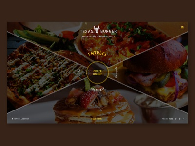 Texas Burger unofficial redesign preview onlineordering menu dining burgers redesign food website layout imagery branding web design web ui landing page design