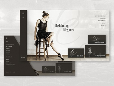 Redefining Elegance performers performance dance website company page ballet dance company dancing dance typography ux layout imagery website branding web design web ui landing page design