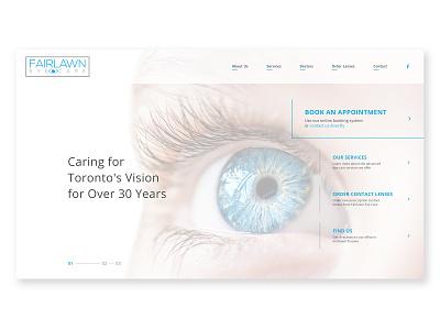 Fairlawn Eye Care light clean vision care vision optometry eye care eyesight eyes medical doctor toronto optometrist ux layout imagery website web design web landing page design