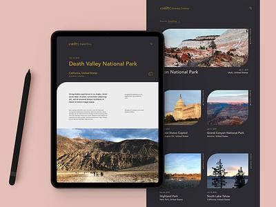 Digital Travelogue Platform app travel typography ui ipad app branding mobile ui landingpage design