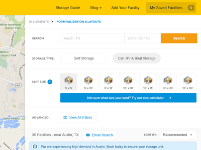 Sparefoot transportation view list filter search airbnb storage
