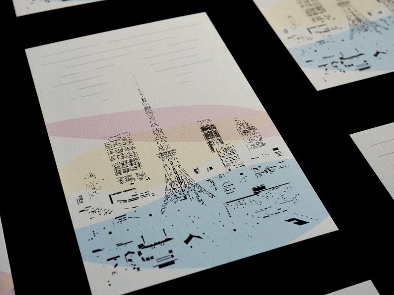 The Light of Tokyo - Postcard culture functionality beautiful metropolis city landscape building light hotel tokyotower graphic  design postcard nightscape tokyo illustration japanese design