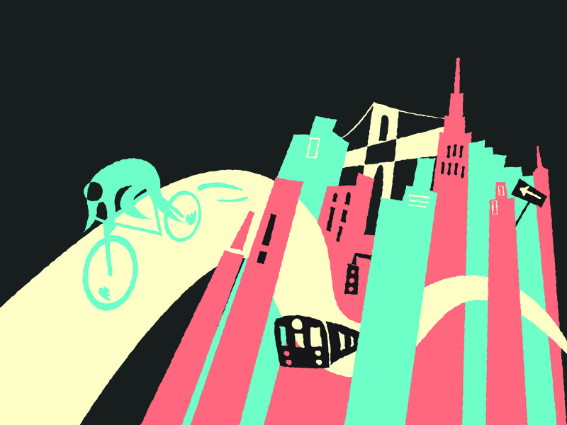 Manhattan skyscraper messenger bag bike beautiful culture city minimal vector flat illustration branding design newyorkcity