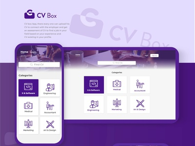 CV Box app cv uxdesign uidesign uiux mobile ui design product design mobile ui mobile category app design job application app