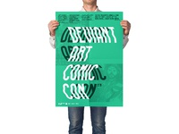 Man holding poster mockup psd