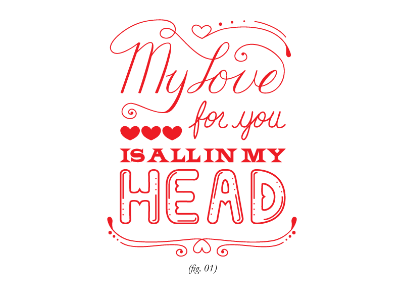 Valentine Card hand-lettering illustrator vector red handlettering