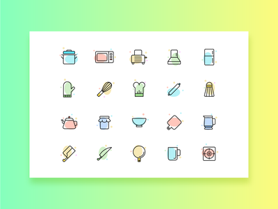 kitchen tools icon colorful ui linear icon kitchen tools
