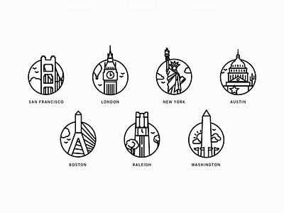 City Icons san francisco washington dc raleigh austin london boston new york illustration locations city city icons icons