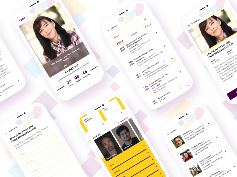 Event App UI Concept typography speakers event app event colors ui concept vector illustration ux ui design concept