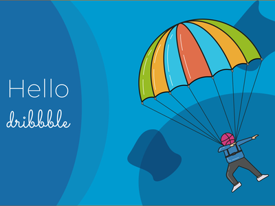 Hello Dribbble.!! dribbble debut dribbble parachute web vector design illustration hello dribbble
