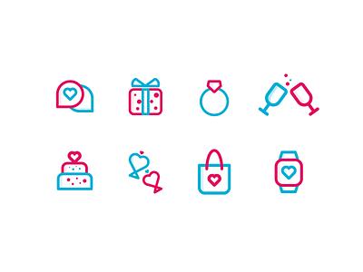 Valentine Icon Set best icons icon design cake ring gift watch heart love valentine icon