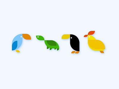 Same Shape Exploration shapes emoji icons web birds illustration clean design