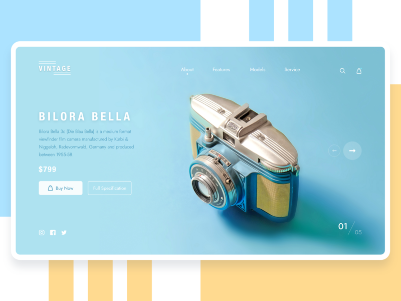 Camera Product Page Concept ui design minimal clean ecommerce website 2019 trends landing page product page web page shopping product camera
