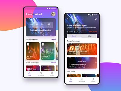 Music Fest App ui adobe xd android app ui minimal ticket booking festival music ui  ux app design gradient colorful clean
