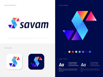 Savam (S) Letter Logo Design s logo s letter s vector tech logo symbol social media monogram modern marketing logo marks logo mark letter logo letter design gradient designer concept branding app icon abstract