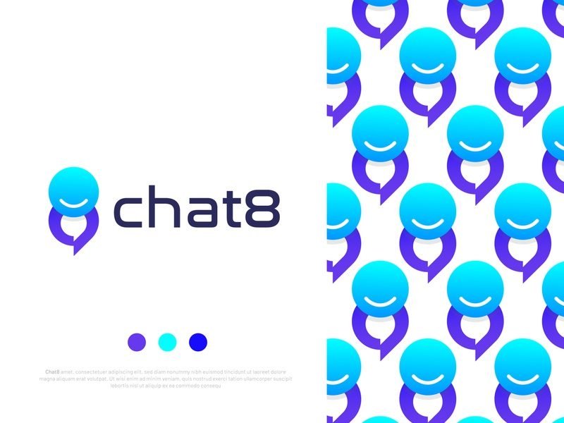 App logo design for chat8 illustration app 8 logo logo gradient design chat bubble branding unused logo messenger smile logo chat icon brand brand identity abstract icons sms text logo ios message app chat logo