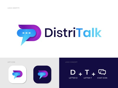 DistriTalk Logo Design for Chat aps - D+T logo design modern logo modern art type agency letter logo creative logo branding brand identity typography logo designer logo t t logo d d logo contact logo chat logo massage logo talk logo