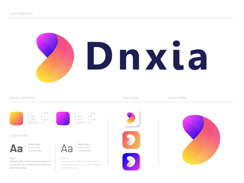 Branding Logo Design for Dnxia technology d logo d mark modern minimalism marketing logotype logo mark logo designer letter logo letter design gradient creative logo corporate concept branding brand identity app agency abstract