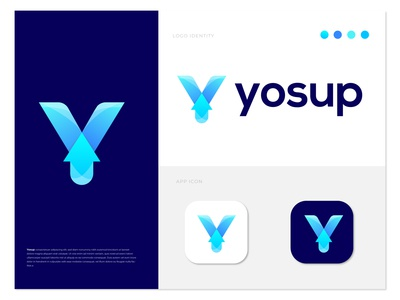 Yosup branding logo design - Y letter logo logo concept arrow logo up logo modern logo logotype logo mark logo designer letter logo gradient logo gradient design creative logo colorful logo y logo y letter branding design branding brand identity agency abstract