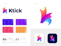 Modern K letter logo design for Ktick logotype professional logo modern logo mark logo idea logo designer logo concept logo k logo k letter logo k letter k illustration identity designer colorful logo branding logo designer branding identity branding agency abstract logo