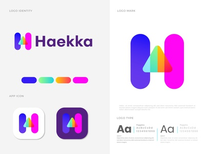 Haekka H letter logo design ।। Mountain modern logo sun sunset nature mountain sun landscape mountain logotype logo designer letter design h mark h logo h graphic design designer gradient corporate business cards stationery branding brand branding identity app agency abstract
