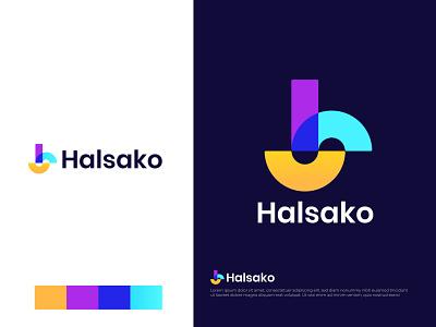 Modern (H+S) Branding Logo Halsako app icon illustration brand identity design brand identity branding overlay colorful creative logo abstract lettermark logo mark logo designer logodesign logotype letter logo s h