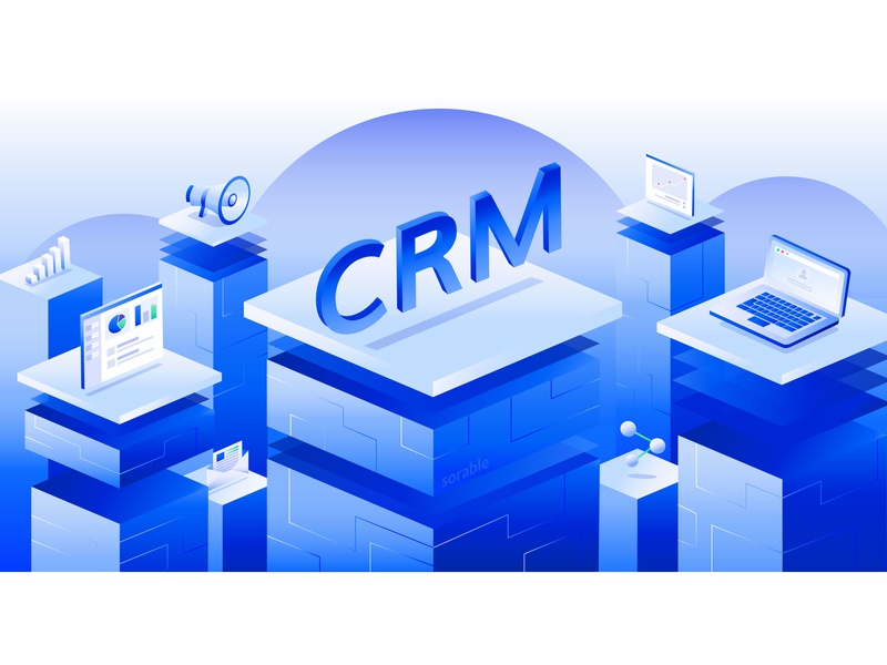 Using CRM programs in the mass sales segment computer website branding massmarket crm vector design illustration