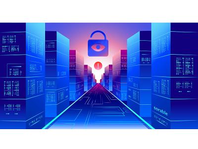 Cloud computing : Security servers crm branding digital illustration illustration art server cloud computing