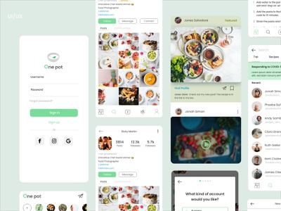 One Pot - Mobile App Concept photography mobile application uxui wireframes green food delivery illustration profile page login page food app mobile app mobile ui visual design app ux ui design creative minimal