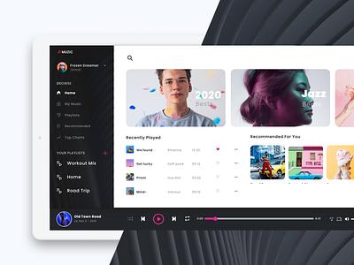 Muzic App trending ui music player poppins icons lightmode dark mode webapp web branding mockup app typography uxdesign application ui visual design music app ux ui minimal
