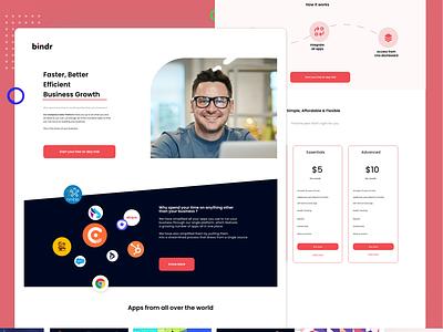 Bindr - Landing Page product page website concept application ui mobile app illustration vector landing page product design visual design website design ux ui creative minimal