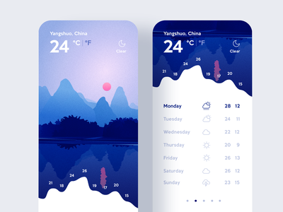 Weather App / ui & illustration flat app inspiration agency minimalism webdesign concept art nature landscape user interface ui vector design illustration graphics design application weather app weather
