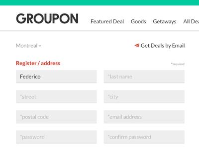 GROUPON register re-design