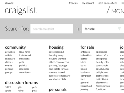 Craigslist re-design concept teaser