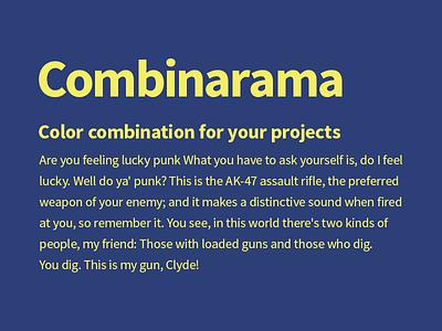Combinarama - Text F4ED66 Background 2C3F77 color colour combination simple inspiration design background combinarama