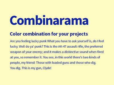 Combinarama Text 0B27A2 Background FBFBC1 design simple background color colour combination inspiration combinarama