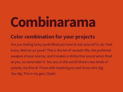 Combinarama Text 480F0F Background D5431A design simple background color colour combination inspiration combinarama