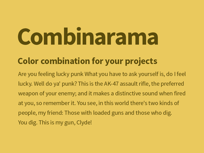 Combinarama Text 5A4C0C Background EAC95D combinarama inspiration combination colour color background simple design