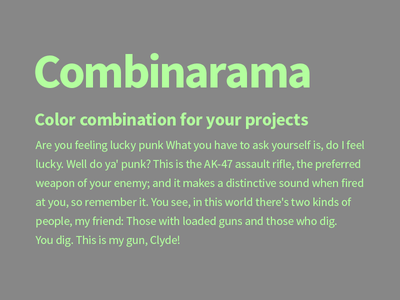 Combinarama Text B3FF9E Background 878787 combinarama inspiration combination colour color background simple design