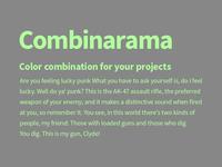 Combinarama Text B3FF9E Background 878787