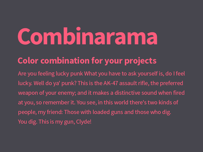 Combinarama Text FF5C7C Background 47464E combinarama inspiration combination colour color background simple design
