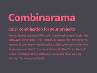 Combinarama Text FF5C7C Background 47464E