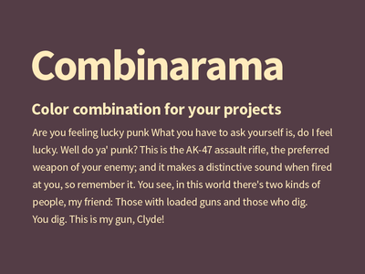 Combinarama Text FFEBBC Background 543D46 combinarama inspiration combination colour color background simple design
