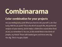 Combinarama Text FFEBBC Background 543D46