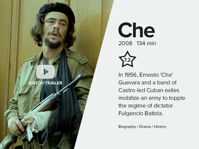 Movie Card rebound CHE design play trailer card ernesto guevara che movie ui